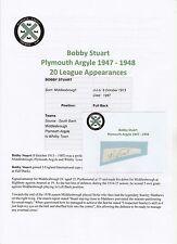 BOBBY STUART PLYMOUTH ARGYLE 1947-1948 RARE ORIGINAL HAND SIGNED CUTTING/CARD