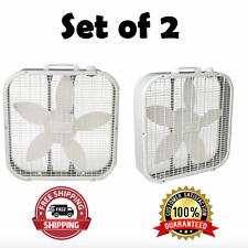 20 Inch Box Fan 3-Speed (2 Pack) Lasko Portable White Box Fan Air Circulation