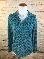 Talbots Chain Print Polo Shirt Long Sleeves Size S Green Chest Pockets Cotton