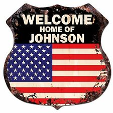 BP-0245 WELCOME US Flag HOME OF JOHNSON Family Name Shield Chic Sign Home Decor