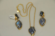 New Alexis Bittar Gold Winding Vine Earrings and Necklace Set
