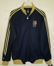 Notre Dame Fighting Irish navy blue gold Adidas zip polyester jacket. S
