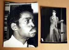SAMMY DAVIS JUNIOR * 2 PRESSEFOTOS 13x18 + 22x16,5cm PHOTOS LOT 1972 MUSIK RAR