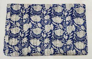 Kantha Quilt Indian Hand Block Print Bedspread Blanket Cotton Coverlet Bedding V