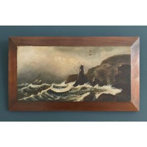 19th Century Seascape Oil Painting on Wood