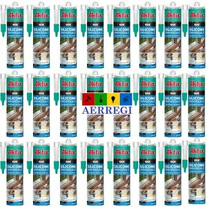 24 SILICONE TRASPARENTE ACETICO CARTUCCIA 280ML ADESIVO SIGILLANTE RESISTENTE