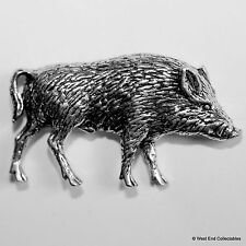 Wild Boar Pig Right Pewter Pin Brooch - British Artisan Handcrafted Badge