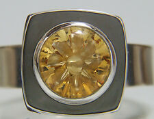 Citrine. Custom Cut & Carved Stone. Ring With Lapis Inlay. Size 8. Sterling.