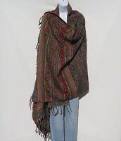 Yak Wool Blend|Shawl/Throw|Handloomed|Nepal|Reversible|Base Colors: Black & Sand