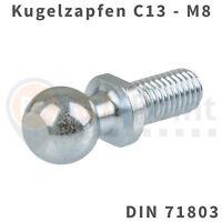 Kugelzapfen 13mm M8 DIN 71803 Kugelkopf Kugel Zapfen Kopf Gasfeder Audi Opel VW