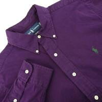 Mens Polo Ralph Lauren Classic Fit Purple Oxford Golf Dress Shirt Size Medium M