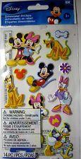 NEW 14 pc MICKEY & FRIENDS Minnie Pluto Donald 3D Puffy Stickers DISNEY JOLEE'S
