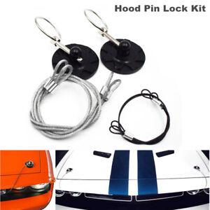 Racing Car Round Bonnet Aluminum Alloy Cable Hood Pin Appearance Lock Kit Black