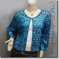 Chic Sequin Embroidered Evening Bolero Shrug Top Blue L