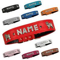 LEDASS92 Hundehalsband Mops Halsband Name Wunschname Strass Hundehalsbänder Neu