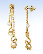 TORY BURCH Gold-Plated Multi Chain Logo Drop Faux Pearl Earrings