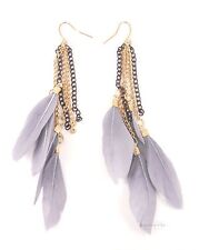 Vintage Gold Tribal Multi Chain Grey Feather Dangle Fashion Jewellery Earrings