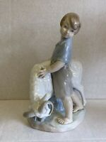 "Nao by Lladro ""I'm Not Moving"" Shepherd Boy With Stubborn Ram / Goat"