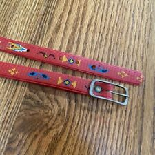 Rare 60s 70s Red Vintage Mod Plastic Native American Belt 30 35 inches Cool Boho