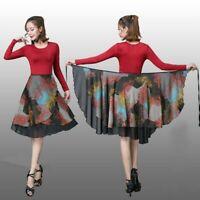 Lady Ballroom Latin Dance Skirt Skate Wrap Salsa Tango Chiffon Dancewear Fashion