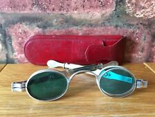 Antique Silver 1827 Georgian Duel Clear & Green Tinted Wig Spectacles & Case