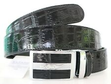 100% GLOSSY GENUINE CROCODILE LEATHER BELLY SKIN MEN'S BELT BLACK SOFT Sz 35 NEW