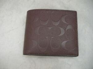Authentic Coach F75371 Compact ID Signature Crossgrain Leather Mahogany