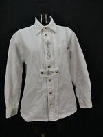 Gr.M Trachtenhemd Hemd Distler weiß Baumwolle Leinen Fantasie Stickerei TH1390