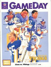 Minnesota Vikings Detroit Lions Program 12/20/87 Gary Zimmerman Tommy Kramer