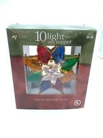 """HOLIDAY HOME MULTI COLOR 10 LIGHT TREE TOPPER> PRETTY 7 1/2"""" tall"""