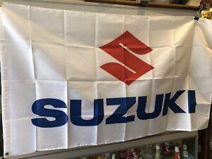 Suzuki White New Repro Flag
