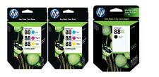 Set of 7 New Genuine HP 88XL & 88 Inkjet Cartridges NO BOX SEALED BAGS C M Y BLK