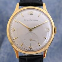 LARGE 37 MM GIRARD PERREGAUX GOLD PLATED MANUAL WIND SWISS WORKING GENTS WATCH