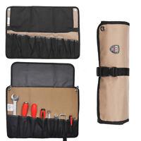 10 Pockets Chef Knife Bag Roll Bag Carry Case Bag Kitchen Storage Brown US Stock
