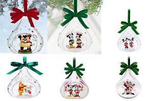 Disney Store Yearly Glass Sketchbook Mickey Minnie Mouse Winnie Pooh Ornament