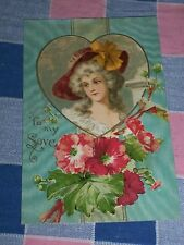 Old Postcard Valentine's Day To My Love Woman in Heart  Small Tear at Bottom