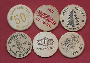 6 Misc Wooden 'Nickels'
