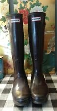 Women's Sz.9 Tall Brown Hunter rain boots EUC