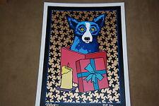 George Rodrigue Blue Dog Jingle My Bells At Night Black Stars Silkscreen Print