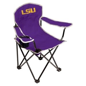 Set of 2 Coleman NCAA LSU Tigers Youth Kids Fold Up Quad Chair Rawlings New