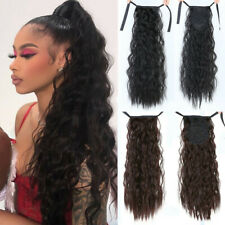 Long Curly Ponytail Hairpiece Heat Resistant Synthetic Hair Tail Clip Hair1B# 2#