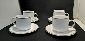 Set of 4 x Gibson Homewares Tea Cup & Saucers gold edged