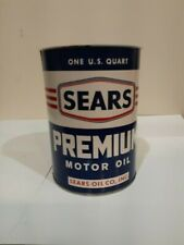 VINTAGE 60's SEARS PREMIUM MOTOR OIL QUART OIL CAN NO LID UNUSED