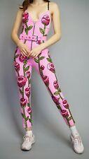 Discount Universe Di$count Universe Pink Roses Bodysuit Jumpsuit Sequin Bead NEW