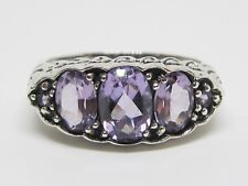 Natural Brazilian Amethyst Anniversary Band Ring Sterling Silver Vintage Sz 7