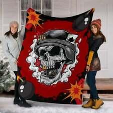 ''Skull Bomber Smile'' Quilt,Fleece Blanket