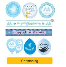 BLUE Baby BOY CHRISTENING Party Balloons Banners & Decorations