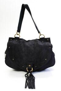 See by Chloe Womens Leather Trim Shoulder Bag Handbag Purple Suede
