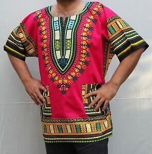 Dashiki African *Hippie Mexican*Poncho Tribal T-Shirts 100% Cotton Bright PINK