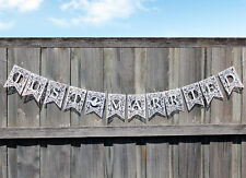 JUST MARRIED Paper Bunting/ Flag/ Sign Hanging Wedding Decoration WHITE Colour